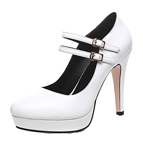 YE Damen Riemchen High Heels Plateau Mary Jane Pumps mit Schnalle Stilettos Klassisch Schuhe Größe