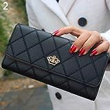 Sac à main AchidistviQ pour femme - Portefeuille long matelassé en cuir synthétique - Porte-carte sacoche - Couronne décorative