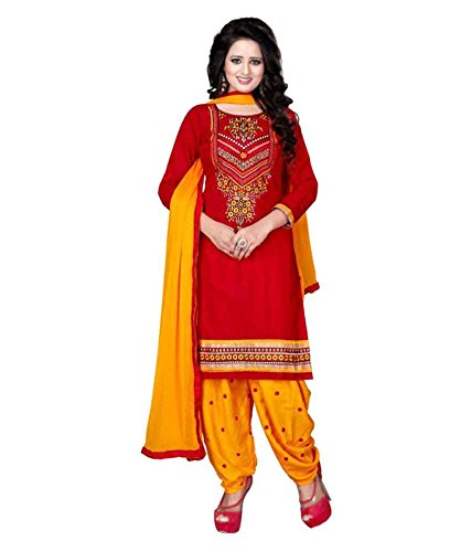 Globalia Creation Women's Red Cotton Dress Material Salwar Kameez for women Unstitched