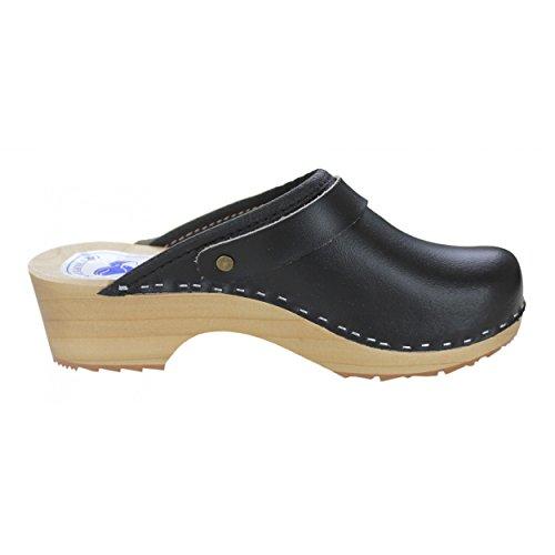 CLOGS Damen Pantoletten Holzclogs Leder Schuhe Geschlossen Holzsohle Bunte Farben Schwarz