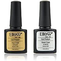Elite99 Base y Top Coat Semipermanente Esmalte Semipermanente de Uñas Gel UV LED Color 2pcs Kit de Manicura Soak off 7.3ml