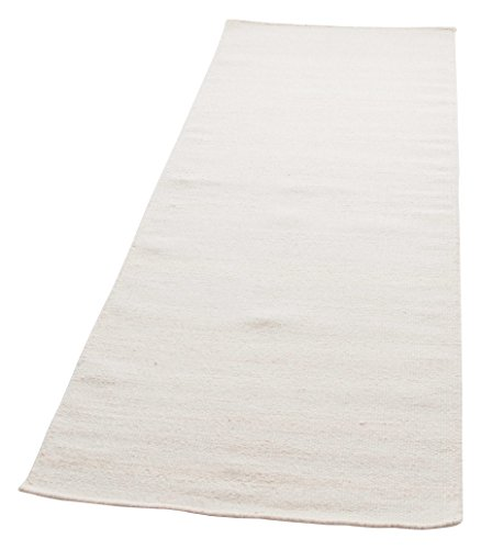 Parwis Kelim Uni Teppich, Wolle, weiß, 80x200cm - 200 Wolle Orientteppiche