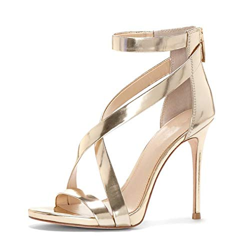 TRFLH& Sexy peep Toe high Heels Sandals Women Cross-Strap Hollow Shoes Woman Thin Heels Back Zipper Lady Party Shoes Gold Silver Gold 3.5