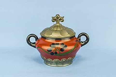 Keramik-Kunst Nouveau Blumen Orivit Einzigartige runde Schale Spectacular Antique Red Abendessen Pasta Reis Deutsch circa 1900 LS
