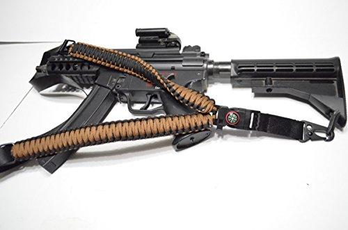 Acido Tactical® 550 ParaCord-Corda da paracadute a tracolla per fucile, dotata di bussola & silice Paintball, 127 cm, colore: marrone Coyote - Paintball Gun Slings