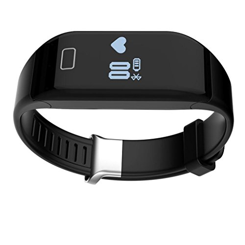 C' est impermeabile Bluetooth smart watch Fitness braccialetto Contapassi Cardiofrequenzimetro per Android IOS Smartphone, Black, 220*20*15mm
