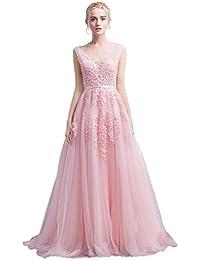 503a12ef1326f5 Babyonline Damen Rückenfrei Spitze Tüll Abendkleid Lang Ballkleid Hochzeit  Brautjungfernkleid mit Träger