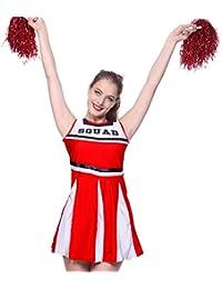 Womens Cheerleader Costume with Pom Poms High School Sports Uniform Fancy Dress