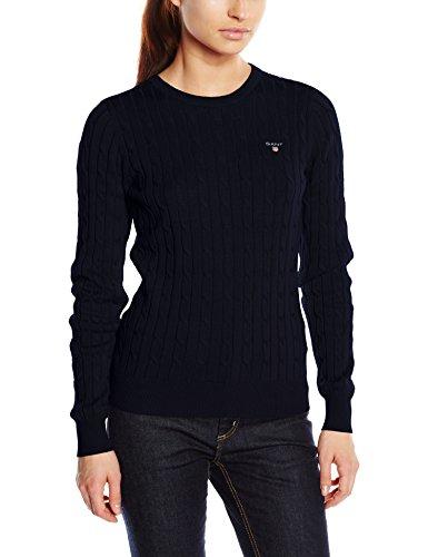 GANT Damen STRETCH COTTON CABLE CREW Pullover, Blau (Evening Blue 433), Large Stretch-sweatshirt