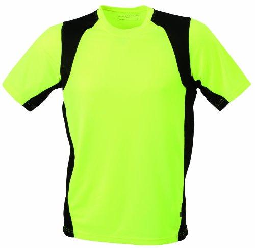 James & Nicholson Herren Langarmshirt Shirt Running T gelb (fluoyellow-black) Large (T-shirt Gelb Sicherheit)