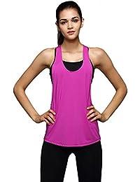 Levifun Camiseta de la Ropa Tops para Mujer, Deportes Fitness Sólido Sexy Gimnasio de Entrenamiento