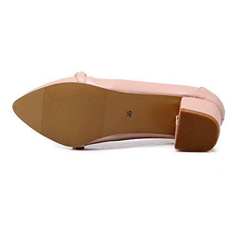 VogueZone009 Pumps Damen Mittler Zehe Rein Absatz Pink Pu Spitz Auf Leder Schuhe Ziehen T4v1rROT