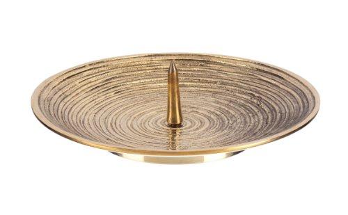 Kerzenteller mit Dorn (Rillen) Messing 15 cm Durchmesser