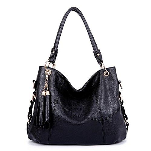 Damen Handtaschen Schulter Messenger Bag PU Weichen Leder Große Kapelle Handtasche Mode Geldbörse Crossbody Tasche Black