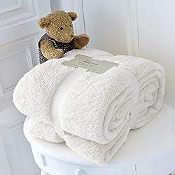 [Hachette] Couverture Polaire en Peluche [Blanc/King Size 200 x 240 cm] Couvre-lit Doux Doux et Chaud pour canapé