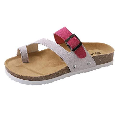 Logobeing Sandalias Mujer Verano/Plataforma/Planas/Fiesta/Cuña Zapatos Moda para Mujer Cruz Toe Hebilla...