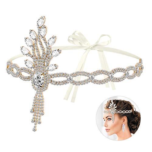 Lurrose - cerchietto per capelli in stile vintage anni '20, con motivo a foglie, accessorio per capelli da donna