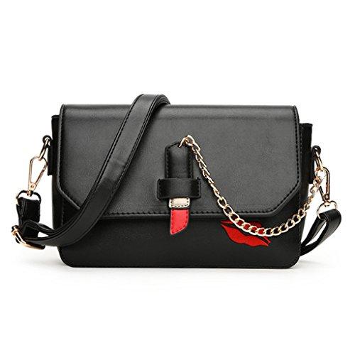 Wer Bin Ich Lippenstift Art Und Weise Beweglichen Schulter Messenger Bag Kleine Quadrat Handtaschen Black