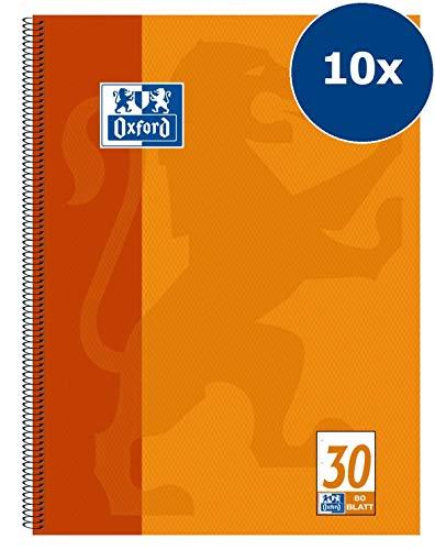 Oxford, quaderno scolastico forato, A4, 80 pagine Rigatura 30 - bianco 10 pezzi orange