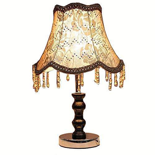 ZHANG NAN ● Europäische Stoff Prinzessin Schlafzimmer Tischlampe Perlen Hängen Holz Chrom Basis Arbeitszimmer Schreibtisch Lichter Kreative Kreative Design Tischleuchten (A) ● -