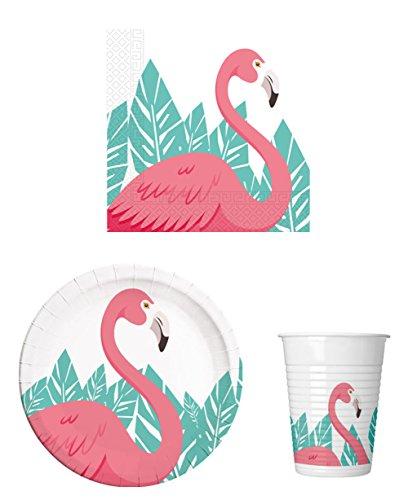 arty-Geschirr Set Flamingo - Mottoparty Kinder-Geburtstag - Teller Becher Servietten für 16 Personen ()