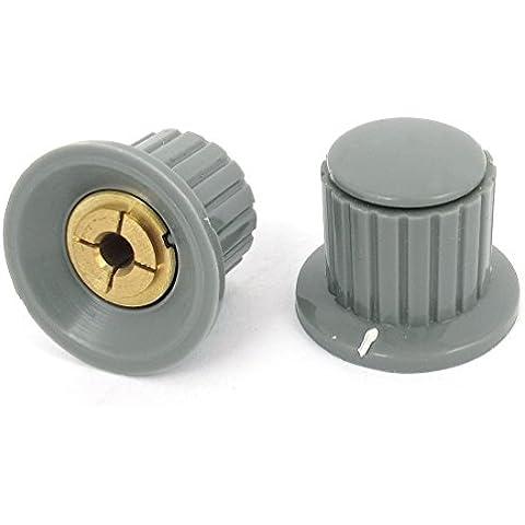 2pcs 4 mm Control de volumen de Split Diámetro del eje del potenciómetro mezclador Perillas Gray