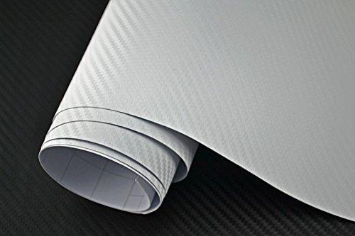 3,29€/m² Auto Folie - 3D Carbon Folie - WEISS 100 x 150 cm - Meterware blasenfrei mit Luftkanälen NEOXXIM PREMIUM