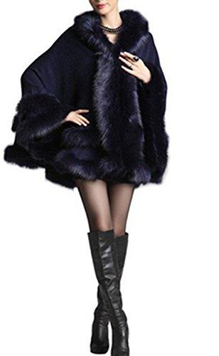 Plaer da donna con cappuccio in pelliccia di volpe ecologica cape poncho mantello nero dark blue