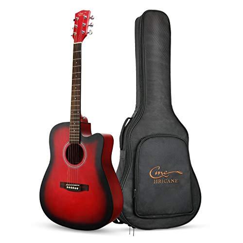 Hricane Anfänger-Akustikgitarre 41 Zoll Full Size Gitarren, GU-4 Cutaway Fichte Stahlsaite Akustische Gitarre mit Gitarren-Paket (Rot Cutaway)