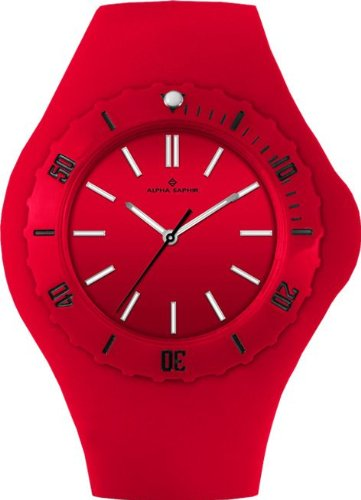 Alpha Saphir Damen-Uhren Quarz Analog 345G, 38 mm rot