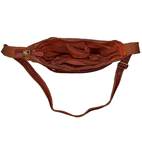 STILORD Borsa elegante Borsa a tracolla piccolo, 29,5 x 25 x 7cm, chiusura lampo, bufalo pelle, Colore:cognac-marrone Rot