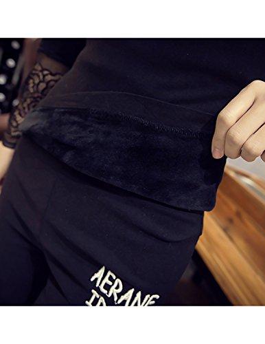 MODETREND Damen Langarmshirt Geblümte Spitzen V-Ausschnitt Blusen Schlank Plus-Samt Verdicken Herbst T-Shirt Oberteil Oversize Tops Winter Schwarz