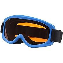 SG de 152Anti UV de Anti-Fog Lente de verkratzt Skate Esquí Snowboard Gafas con justierbarem Jacquard de sujeción para niños (Azul)