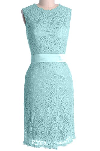 MACloth Women High Neck Short Lace Bridesmaid Dress Cocktail Formal Party Gown Aqua