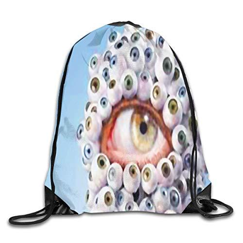 1c656b2dc860 tgkze Drawstring Backpack Gym Bag Travel Backpack Weird Eyes Small  Drawstring Backpacks for Women Men Adults