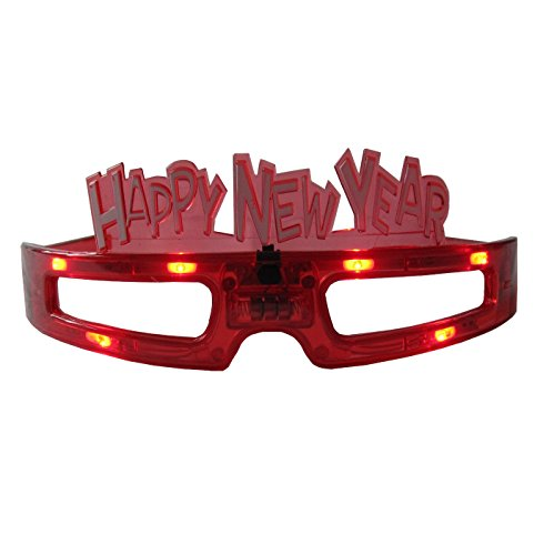 grau.zone Silvester Party Brille Happy New Year Spassbrille Leuchtbrille Rot