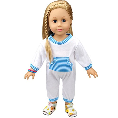 Puppen Kleidung , YUYOUG Süße Baby Puppe Kleidung Kawaii Design Pyjama Puppe Pyjamas Outfit für 18 Zoll (45-46 cm) American Girl Puppe (Blau)