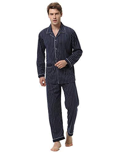 Aibrou Herren Baumwolle Pyjama Set, Winter Warm Langarm Zweiteiliger Schlafanzug, Langarm Shirt mit Hosen Marineblau L Pjs Overall
