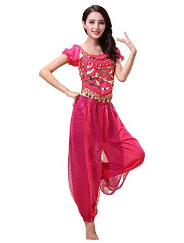 Grouptap Bollywood Indian Princess Theme Bauchtanz 2-teiliges Kostüm Set Outfit für Frauen Mädchen mit Oberteil und Hose (150-170cm, 30-60kg) - Indian Rosa Prinzessin Kostüm