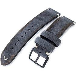 21mm MiLTAT Dark Grey Genuine Nubuck Leather Watch Strap, Beige Stitching, PVD