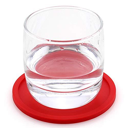 RENNICOCO rund saugfähig Silikon Untersetzer Cup Mats passt jeder Größe Cup Becher Brillen, rot, 10cm*0.5cm