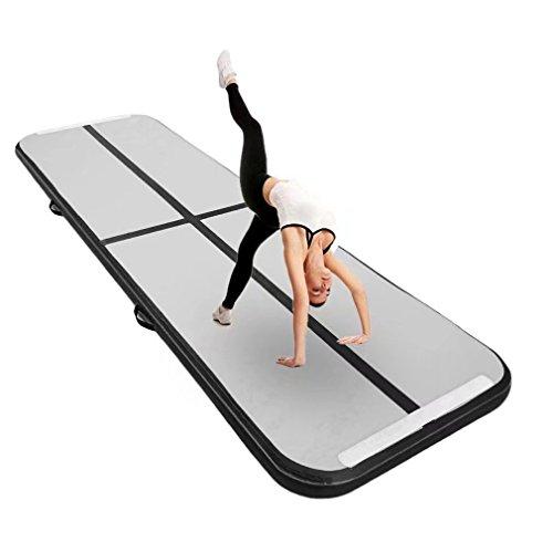 Aufblasbar Gymnastik Tumbling Matte Air Track Weichbodenmatte für Zuhause, Cheerleading, Strand, Park und Wasser-inklusive Steuer (118'x39',Black)