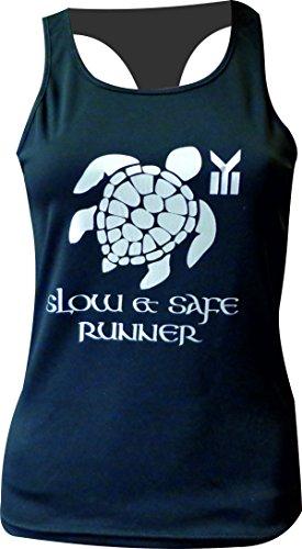 CAMISETA MUJER EKEKO TORTUGA , camiseta de tirantes, espalda nadadora, perfecta para todo tipo de deportes. running, crossfit, gym, yoga y deportes en general (S, NEGRA/PLATA)