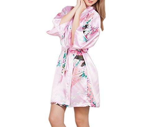 Luck Femme Pyjama Kimono Robe de Chambre 3/4 Manche avoir Ceinture en Polyester Rose