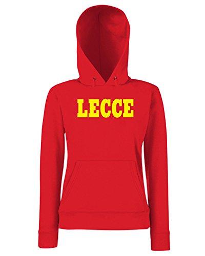 T-Shirtshock - Sweats a capuche Femme WC0921 LECCE ITALIA CITTA STEMMA LOGO Rouge
