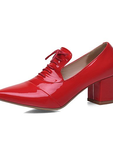 ZQ Damenschuhe - Oxfords - Outddor / B篓鹿ro / Kleid / L?ssig - Kunstleder - Blockabsatz - Komfort / Spitzschuh - Schwarz / Rosa / Rot / Wei? pink-us10.5 / eu42 / uk8.5 / cn43