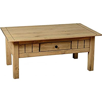Home Discount Panama 1 Drawer Coffee Table, Natural Oak