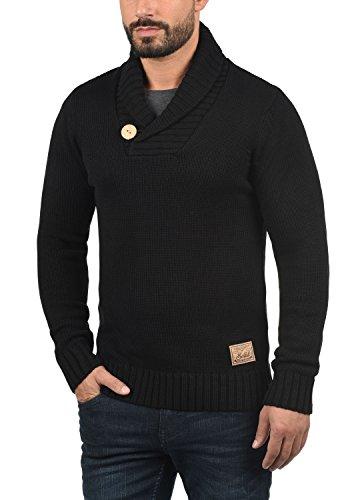 SOLID Paddy Herren Strickpullover Grobstrick Pulli mit Schalkragen aus hochwertiger Baumwollmischung Black (9000)