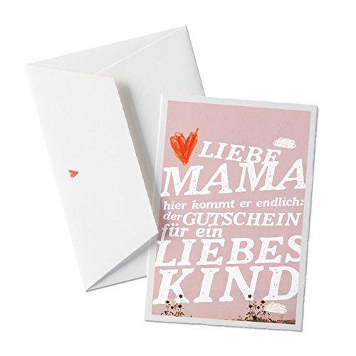 Muttertagskarte: Gutschein für liebes Kind, lustige Glückwunschkarte zum Muttertag, Design auf hochwertiger Bütte + Herz Umschlag, ROSA
