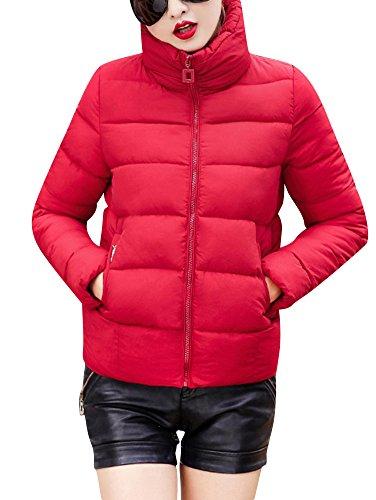 Parka Giacca Donna Manica Lunga Cappotto Caldo Corto Imbottito Giubbino Casuale Rosso
